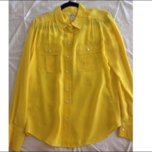 J. Crew Yellow Silk Button Down Blouse